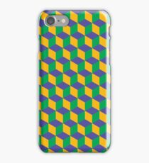 Cube Optical Illusion Pattern - Green/Yellow/Blue iPhone Case/Skin