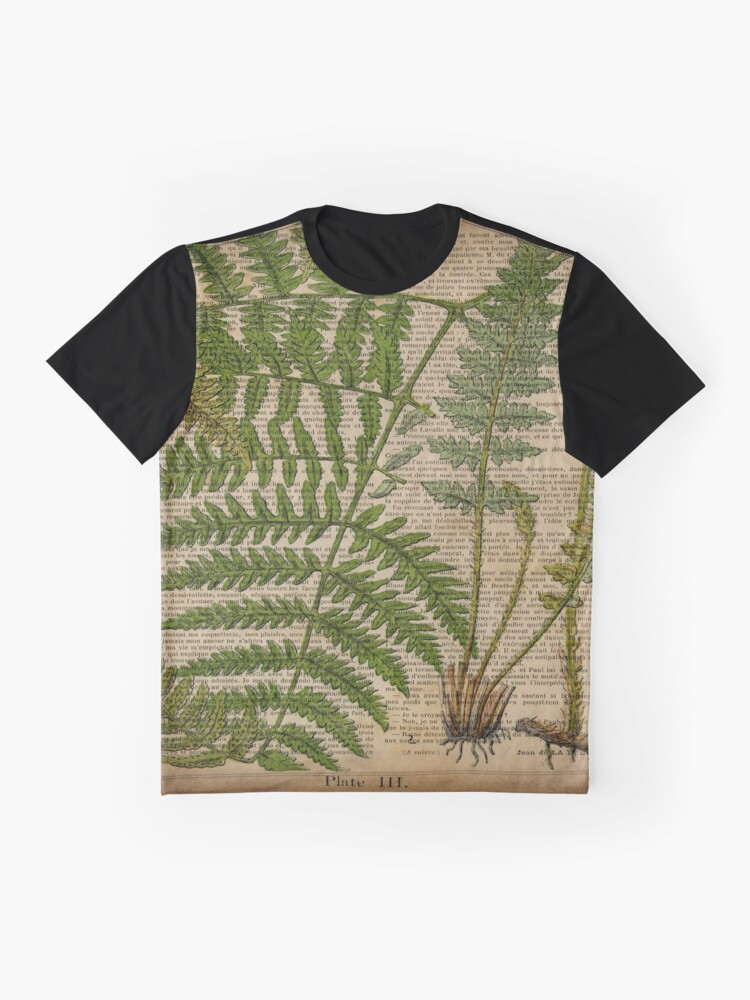 Alternate view of vintage foliage hipster botanical print fern leaves Graphic T-Shirt