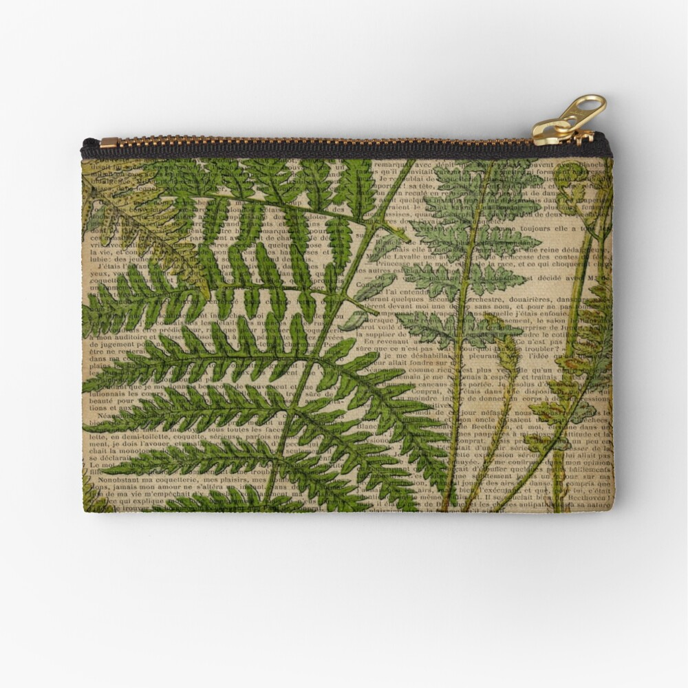 vintage foliage hipster botanical print fern leaves Zipper Pouch