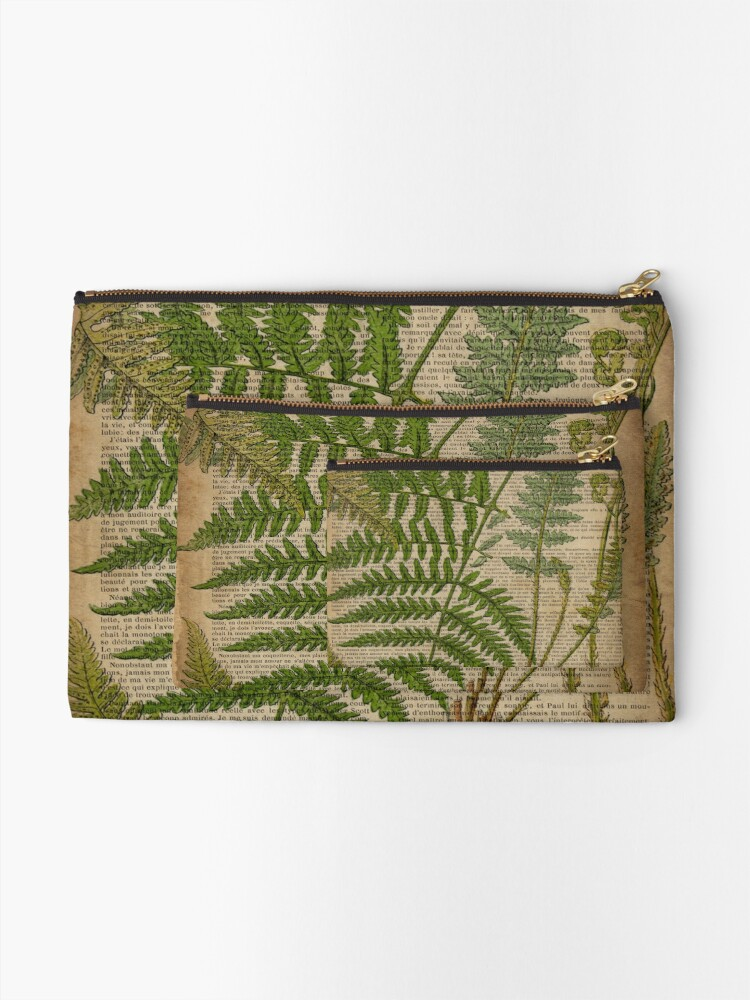 Alternate view of vintage foliage hipster botanical print fern leaves Zipper Pouch
