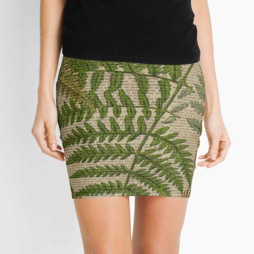 vintage foliage hipster botanical print fern leaves Mini Skirt