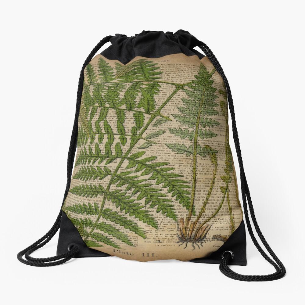 vintage foliage hipster botanical print fern leaves Drawstring Bag