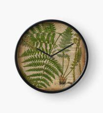vintage foliage hipster botanical print fern leaves Clock