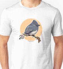 Black Phoebe over orange background Unisex T-Shirt