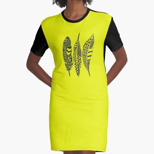 Boho Feathers Graphic T-Shirt Dress
