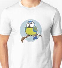BlueTit Bird over Blue Background Unisex T-Shirt