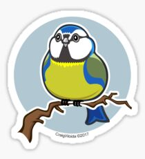 BlueTit Bird over Blue Background Sticker