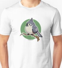 Tit Mouse Bird over Green Background T-Shirt