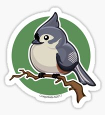 Tit Mouse Bird over Green Background Sticker