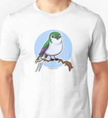 Violet Green Swallow over Blue Unisex T-Shirt