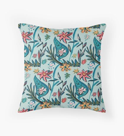 Vintage aqua floral Throw Pillow