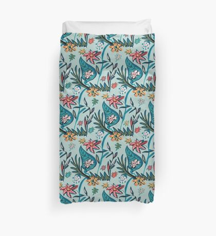Vintage aqua floral Duvet Cover