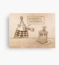 Dalek vs Tardis Birthday Cake  Canvas Print
