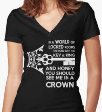 Moriarty Key Quote - White Text Women's Fitted V-Neck T-Shirt
