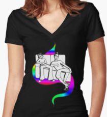 Procrastinate - rainbow drop Women's Fitted V-Neck T-Shirt