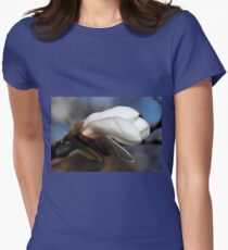 White Magnolia Bud Womens Fitted T-Shirt