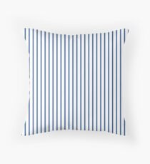 Delphinium Blue Pinstripe on White Throw Pillow