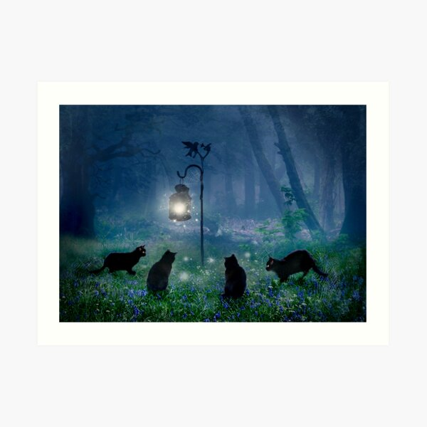 The Witches Cats Art Print