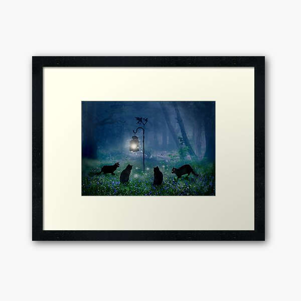 The Witches Cats Framed Art Print
