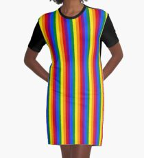 Mini Vertical Gay Pride Rainbow Beach Stripes Graphic T-Shirt Dress