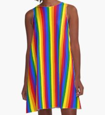 Mini Vertical Gay Pride Rainbow Beach Stripes A-Line Dress