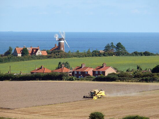 A Windmill, the Sea, a Combine Harvester, Norfolk landscape by johnny2sheds