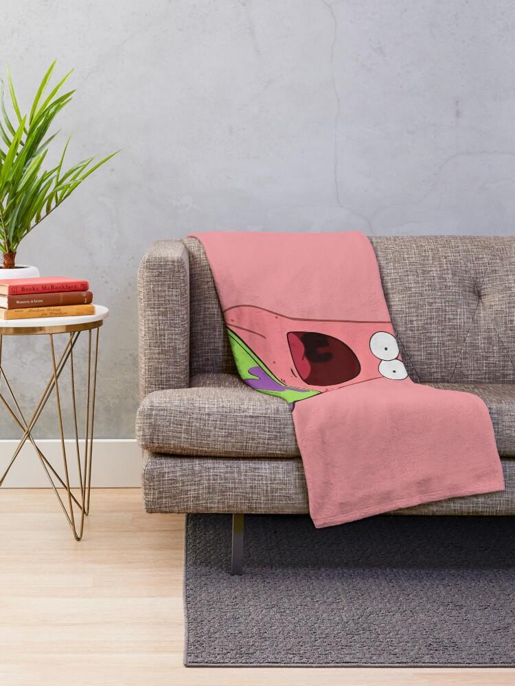 Alternate view of Surprised Patrick Throw Blanket