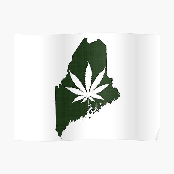 Marijuana Leaf Maine Poster