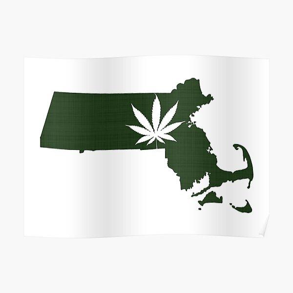 Marijuana Leaf Massachusetts Poster