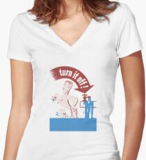 Turn It Off -- Water Conservation Women's Fitted V-Neck T-Shirt