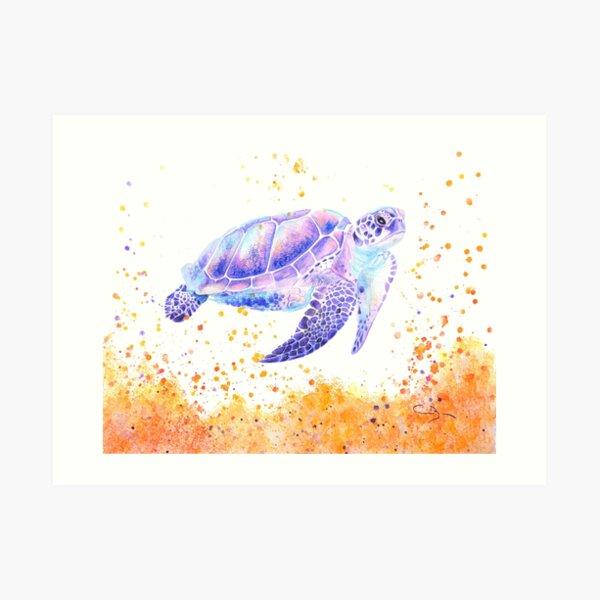 Tortue violette surréaliste à l'aquarelle Impression artistique