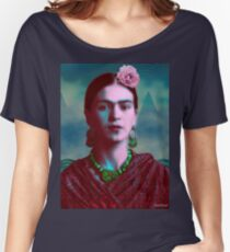Frida Kahlo with Mountains - Color (Ver 8.5) Women's Relaxed Fit T-Shirt