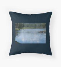 Flyfishing in Wyoming Throw Pillow