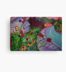 Garden House and Mountains, Acrylic Painting, Dreamy Northwestern landscape Canvas Print