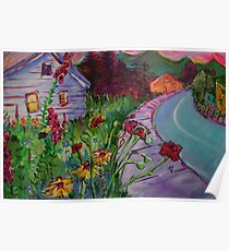 Garden House and Mountains, Acrylic Painting, Dreamy Northwestern landscape Poster