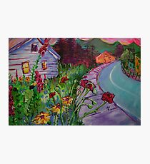 Garden House and Mountains, Acrylic Painting, Dreamy Northwestern landscape Photographic Print