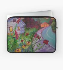 Garden House and Mountains, Acrylic Painting, Dreamy Northwestern landscape Laptop Sleeve