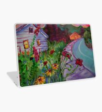 Garden House and Mountains, Acrylic Painting, Dreamy Northwestern landscape Laptop Skin