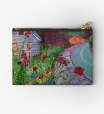 Garden House and Mountains, Acrylic Painting, Dreamy Northwestern landscape Studio Pouch