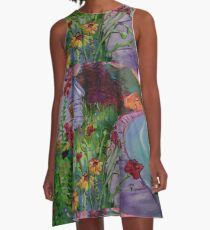 Garden House and Mountains, Acrylic Painting, Dreamy Northwestern landscape A-Line Dress