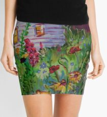 Garden House and Mountains, Acrylic Painting, Dreamy Northwestern landscape Mini Skirt