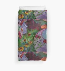 Garden House and Mountains, Acrylic Painting, Dreamy Northwestern landscape Duvet Cover