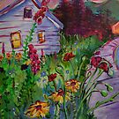 Garden House and Mountains, Acrylic Painting, Dreamy Northwestern landscape by Natalie Weinberg