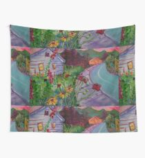 Garden House and Mountains, Acrylic Painting, Dreamy Northwestern landscape Wall Tapestry