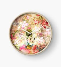 Vintage country rustic floral animal  collage typography Clock