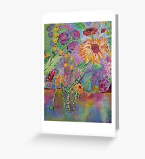 Floral Dream, Acrylic Painting  Greeting Card