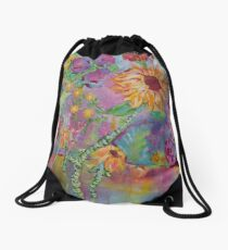 Floral Dream, Acrylic Painting  Drawstring Bag