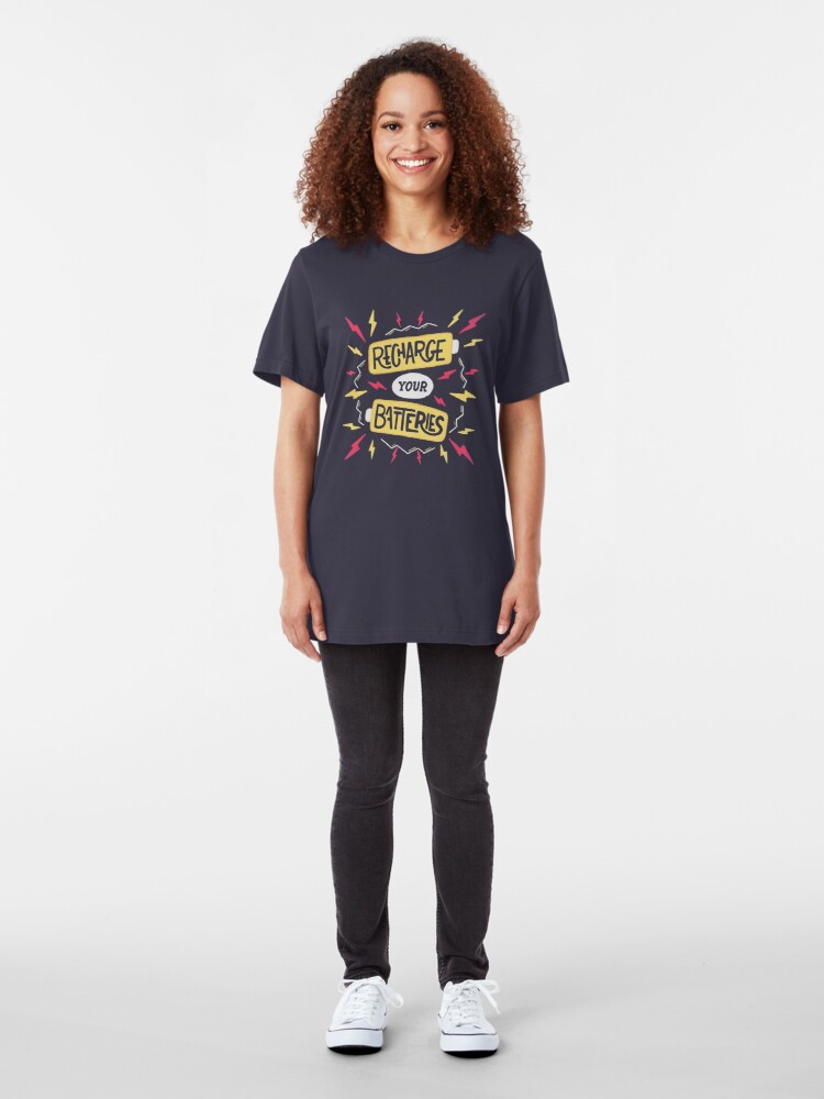 Alternate view of Recharge your batteries Slim Fit T-Shirt