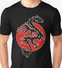 Sun Dragon With Pearl Black Red White Unisex T-Shirt