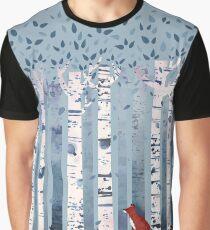 Die Birken (in Blau) Grafik T-Shirt